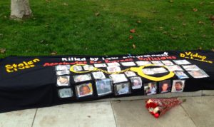 A display showing victims of misdirected violence--and what if all violence is misdirected?