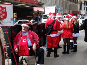 The Salvation Army bell ringers don't miss a beat.