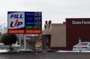 Gas $1.48 in Santa Fe, New Mexico, on Jan. 14, 2015.