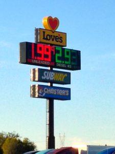 Gas $1.99 along I-10 in Arizona on Dec. 27, 2014