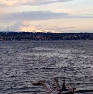 Mt. Rainer, dressed for the sunset, from Vashon Island.