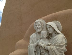 The Holy Family in a niche on the side of the Ranchos de Taos Church